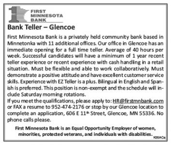 Help Wanted - First Minnesota Bank