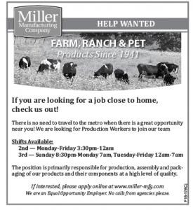 Help Wanted - Miller Mfg.