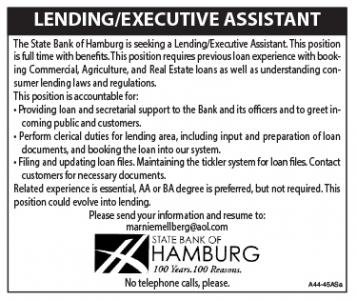 Help Wanted - State Bank of Hamburg